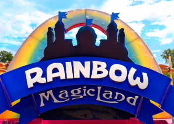 Rome, Italy - September 2017: Rainbow Magicland funfair logo